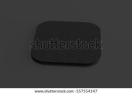 Black coaster. Isolated on black background. Include clipping path. 3d render