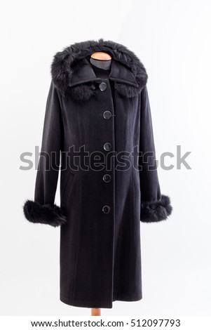Black coat for women isolated on white background