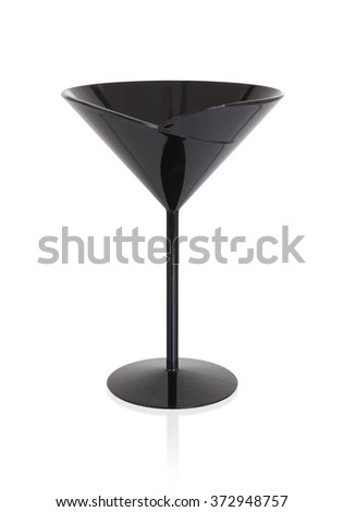 Black cocktail glass, isolated on a white background