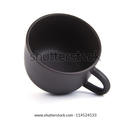 Black coffee cup on a white background.