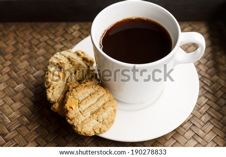 Black Coffee with homemade cookies in the morning
