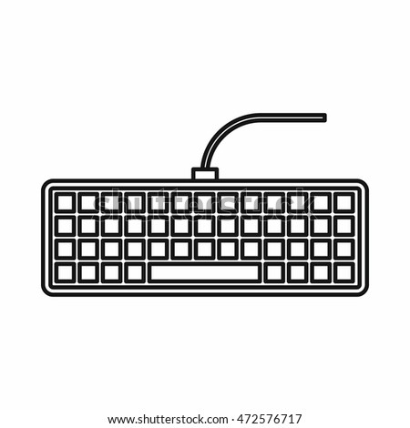Black computer keyboard icon in outline style isolated  illustration