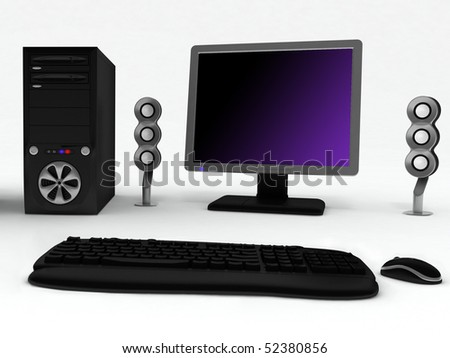 Black computer with speakers and mouse on a white background
