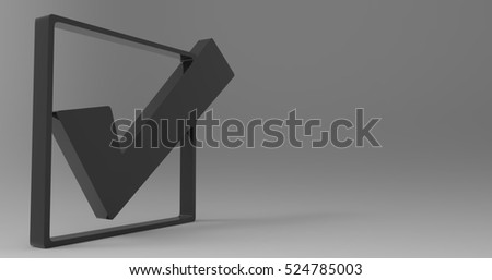 Black 3D Illustration Of A Check Mark Check Box On A Light Masked Transparent Background