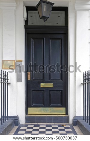 Black Door at Victorian Style House in London