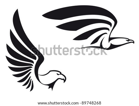 Black eagles isolated on white background for mascot or emblem design, such a logo. Vector version also available in gallery