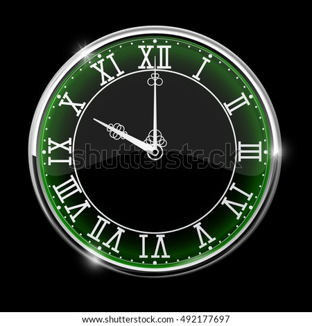 Black elegant clock with green backlight. Roman numerals. 3d illustration. Raster version