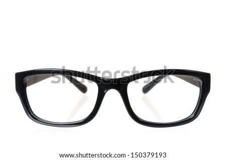 Black eye glasses isolated on white background
