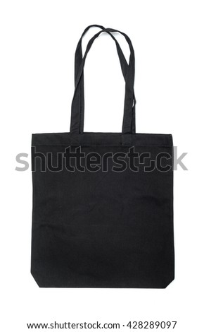 Black fabric bag isolated on white background