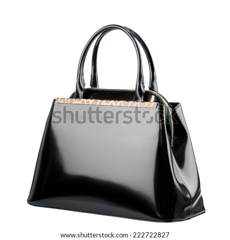 Black female bag isolated on white background.