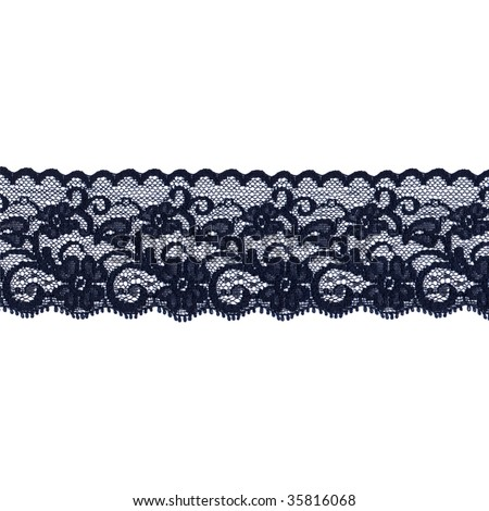 Black floral lace band isolated over a white background