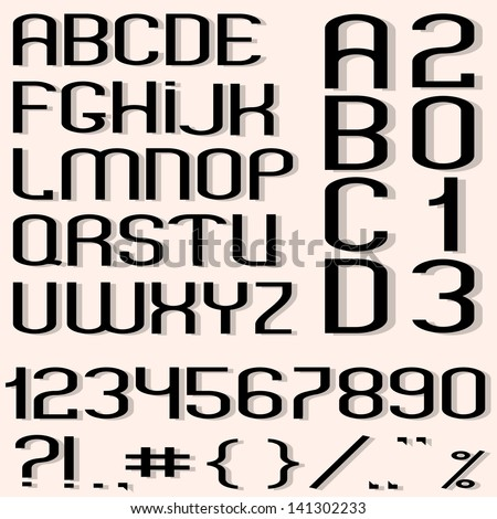 Black font, numbers and punctuation marks. Raster version