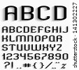 Black font with shadow, numbers and punctuation marks. Raster version - stock photo