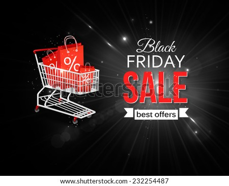 Black friday sale background with shining glass frame, photorealistic bow and place for text.
