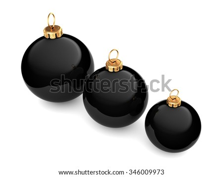 Black glossy christmas ball on  white background