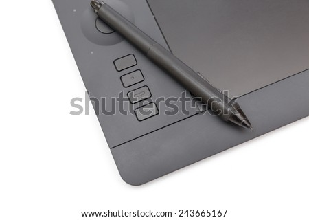 black graphic tablet and special pen on white background