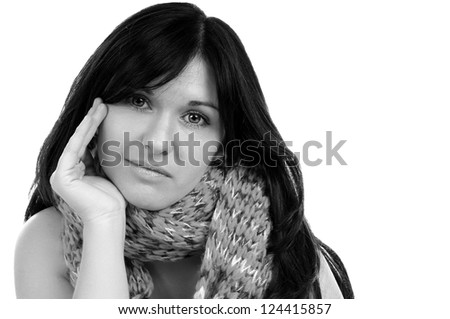 black haired woman with scarf in black and white / pretty woman