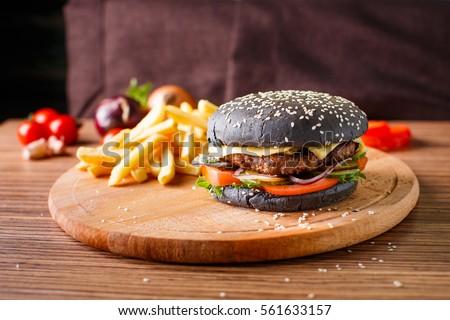 Black Hamburger Meat Cutlet Stock Photo Shutterstock - Black hamburger
