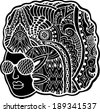 Black head woman with ethnic pattern on her hair, black and white graphic, tribal tattoo style, hand drawn artwork, raster version - stock vector