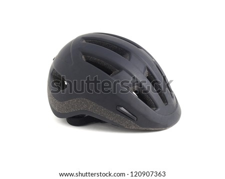 Black helmet on white. This helmet is used  to practice cycling