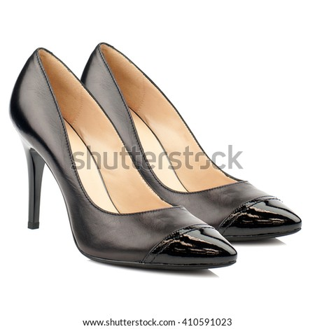 Black high heel women shoes isolated on white background.