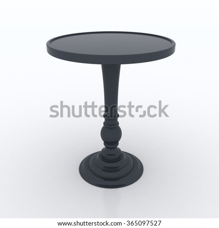 Black High Top Table Isolated On White Background 3D Illustration