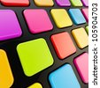 Black keyboard close-up to empty copyspace rainbow colored colorful glossy keys - stock photo