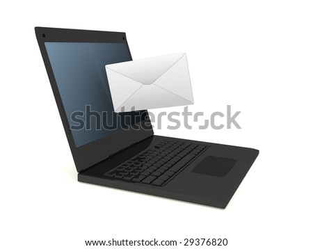 Black laptop and letter on white background