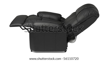 black leather recliner armchair with massage and foot rest in reclined position isolated on white - Black Leather Recliner