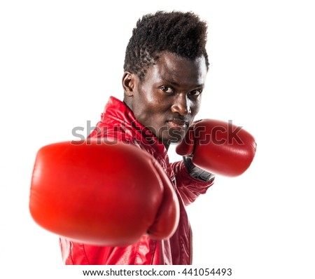 Black man with boxing gloves