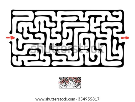 Black maze, labyrinth illustration