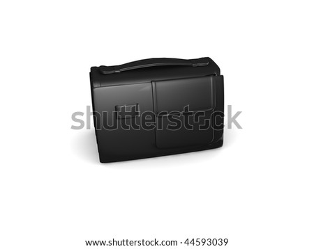 Black mini briefcase isolated on white