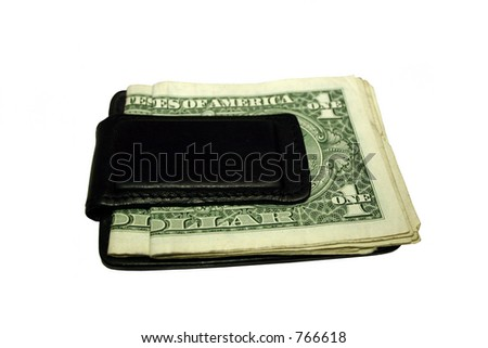 Black money clip with dollars