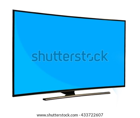 Black monitor with blank blue screen isolated on white background