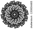 Black ornamental round lace on a white background - raster version - stock photo