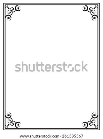 black ornate frame on a white background