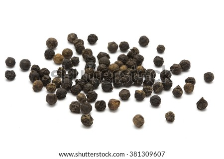 Black pepper on white isolated background