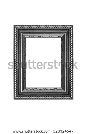 Black picture frame isolated on white with clipping path.