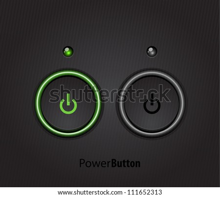 Black power button with led light. Raster version of my vector illustration
