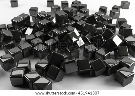 Black reflected cubes falling down on white background teamwork structure 3d render