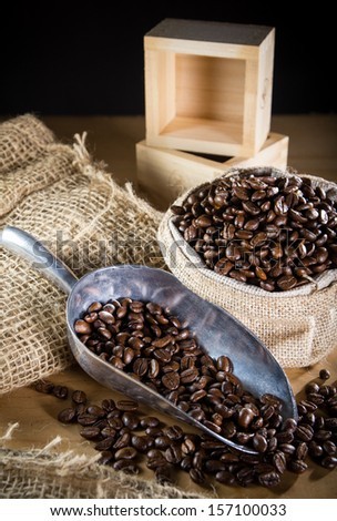 Black roasted coffee beans