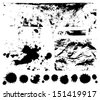 Black scratched, crumpled background (splashing, blob, spatter, spots, splat, blotch, splash). Isolated stain. Grunge texture with paint stains, dirty. Silhouette of splotches.  - stock