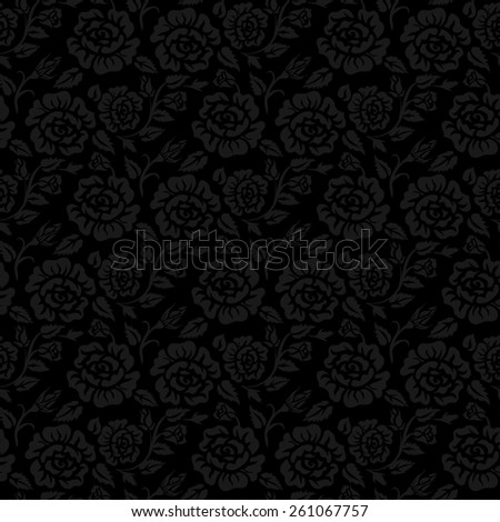 Black seamless background with vintage roses pattern