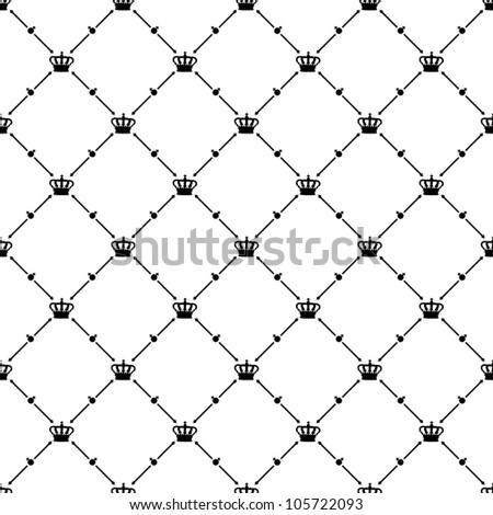 Black seamless pattern with king crown symbol, bitmap copy.