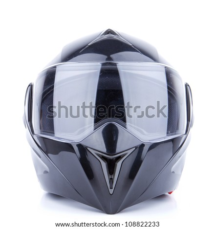 Black, shiny motorcycle helmet Isolated on white background