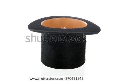 Black silk hat isolated over white