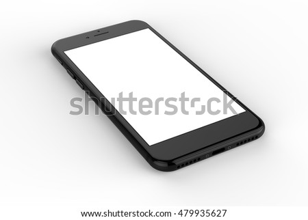 Black smartphones with blank screen, isolated on white background -  3d rendering.
