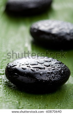 black spa stones over leaf