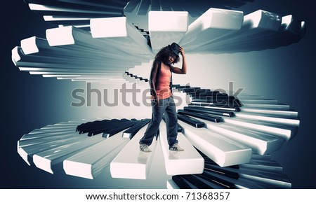 black standing woman on 3d piano keyboard