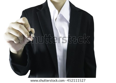 black suit bussiness women holding pencil in her hand on white background isolate and clipping within